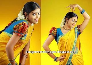 Actress Vishnu Priya in Yellow Saree paired with Ruffled Designer Blouse