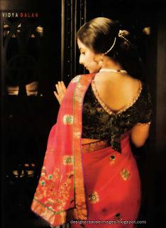 Vidya Balan 'V' neck blouse design for back