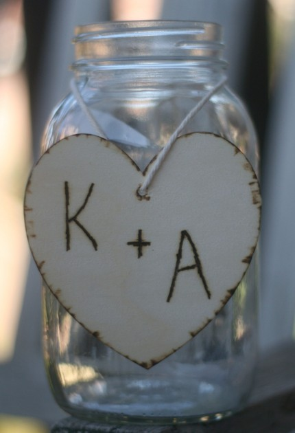 Wedding Centerpiece Charms Wood Hearts With Engraved Persoanlized Initials
