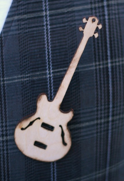 Wood Guitar Wedding Pin