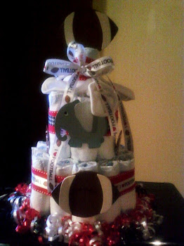 I love football/Bama themed Diaper Cake