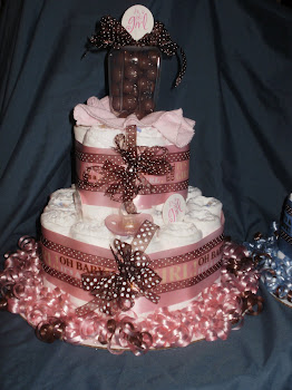 Pink/Brown Dots, Med Diaper Cake