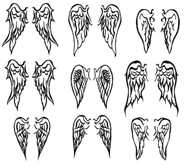 angle wing tattoos. small angel wings tattoos.