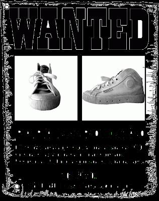 cartaz com duas imagens da sapatilha sanjo branca e com pedido de procura