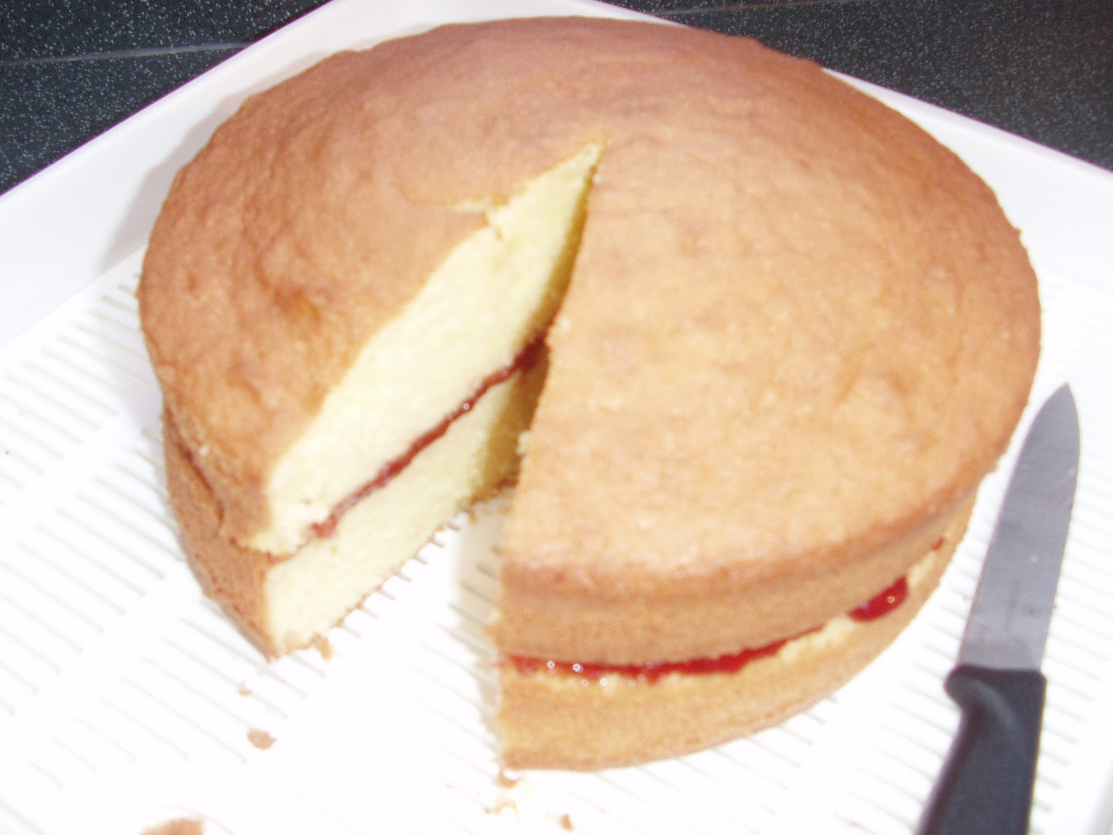Carly Cooks Strawberry jam and vanilla sponge cake