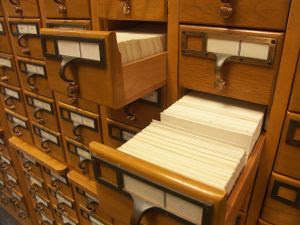 Remember THE CARD CATALOG??  We actually had to LOOK STUFF UP.  And then still figure out where the heck the book was located.
