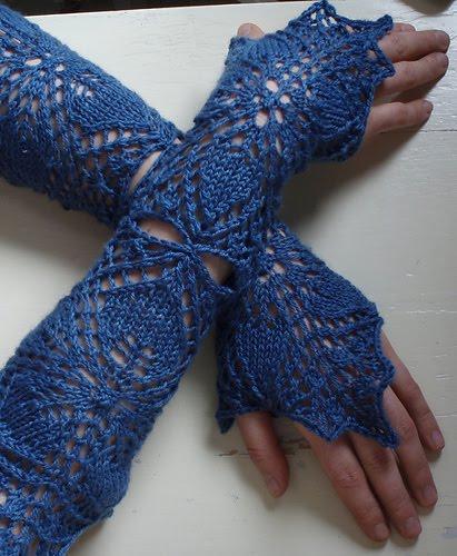 Високі ажурні рукавички без пальців