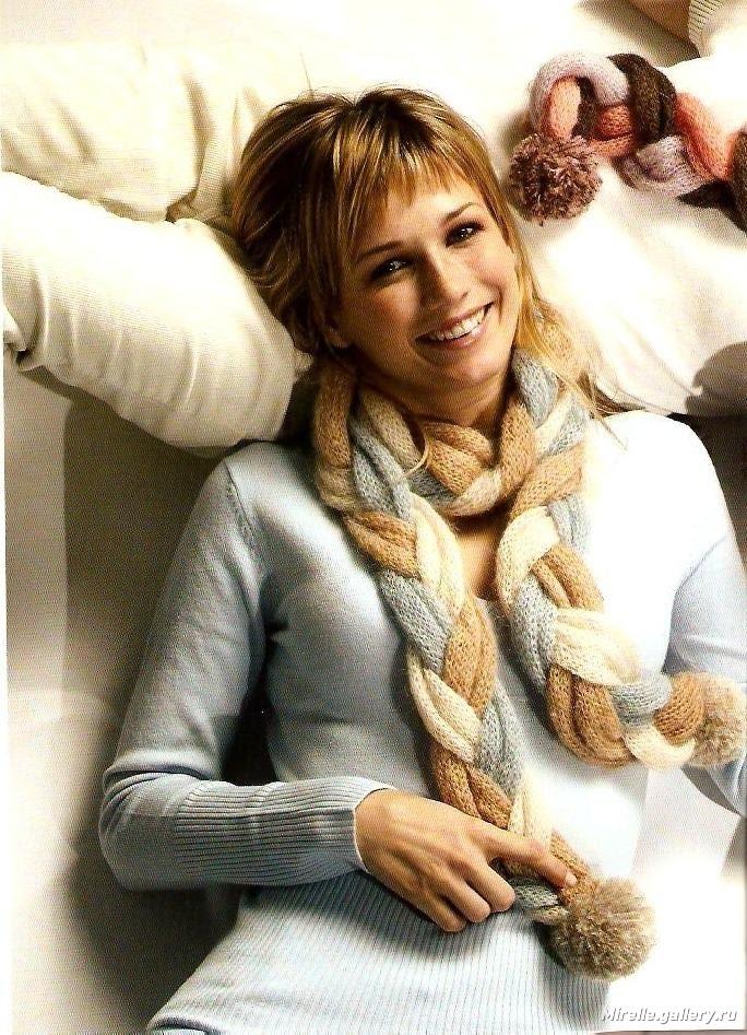 Вязание по косой спицами шарф 622