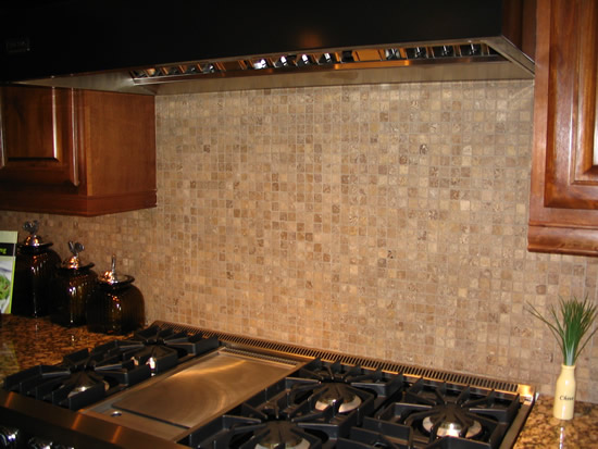 Kitchen 2x2 tiled back splash
