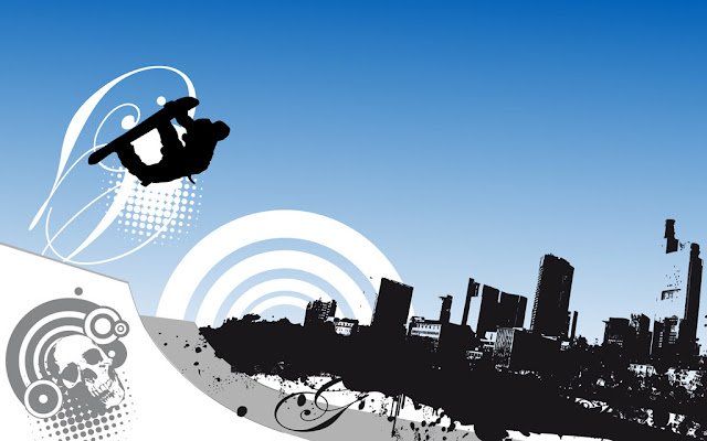 Blue urban snowboard wallpaper by loosy