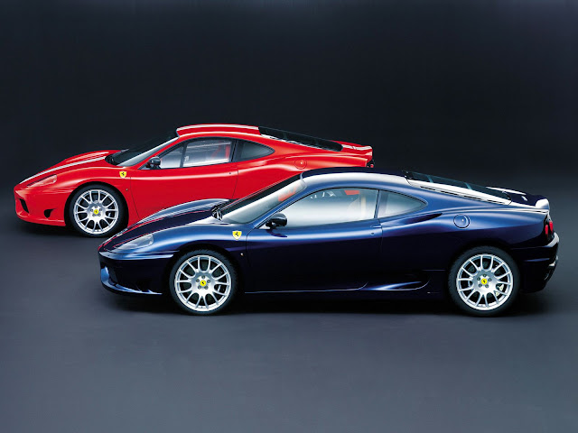 Red and Blue Ferrari 360 Modena Wallpaper