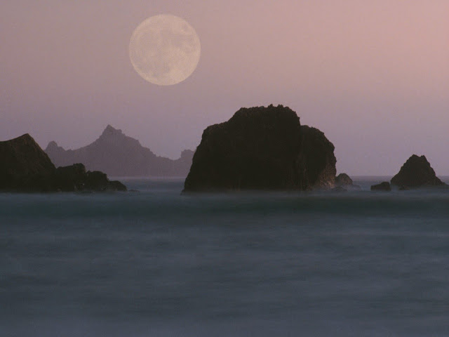 Moonset rockaway beach california Nature wallpaper