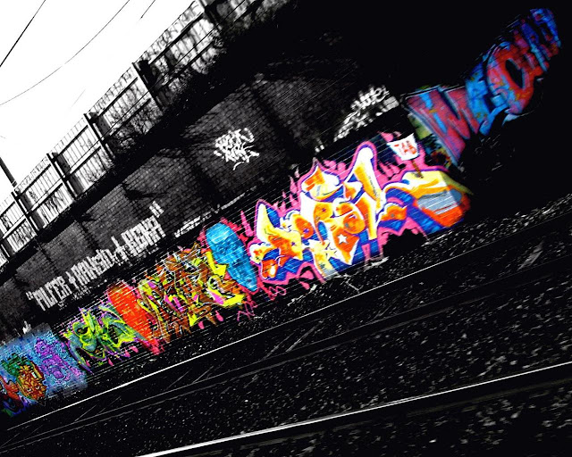 Color in the black graffiti urban art wallpaper