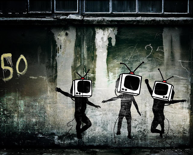 TV man urban graffiti wallpaper