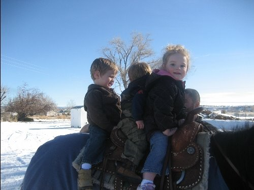 Jersy, Jagger, and Ty riding Pepper