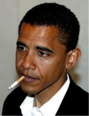 Barack Obama smoking a cigarette