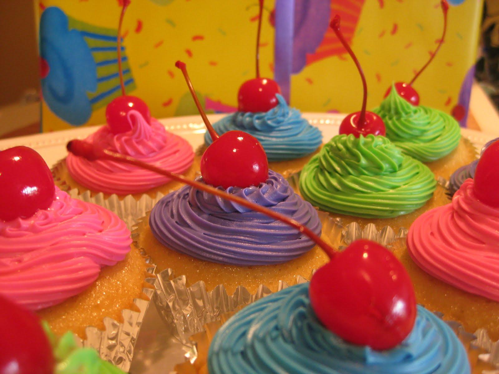 gk designs: Bright Birthday Cupcakes