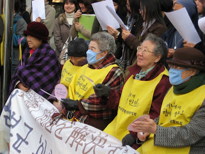 Close up of comfort women at protest