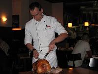 chef carving turkey