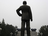 statue of Sen overlooking Gate of Peace at Zhongshan