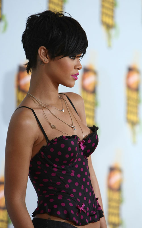 Rihanna hair is a short, sassy cut that is left longer on top and cut close