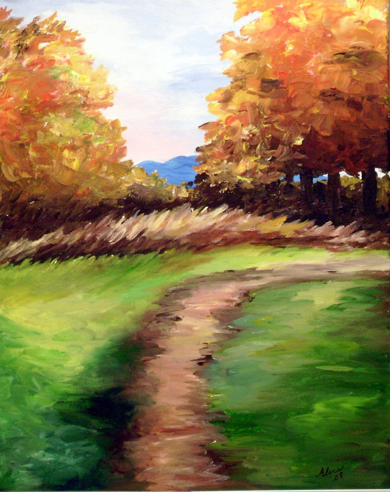Painting with alice a couple of great paintings for the fall for Fall paintings easy