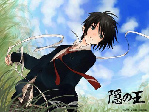 anime boy with black hair and red eyes