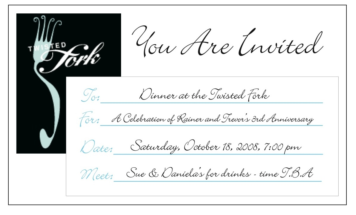 Rainer trevor team wedding third anniversary dinner invitation third anniversary dinner invitation stopboris