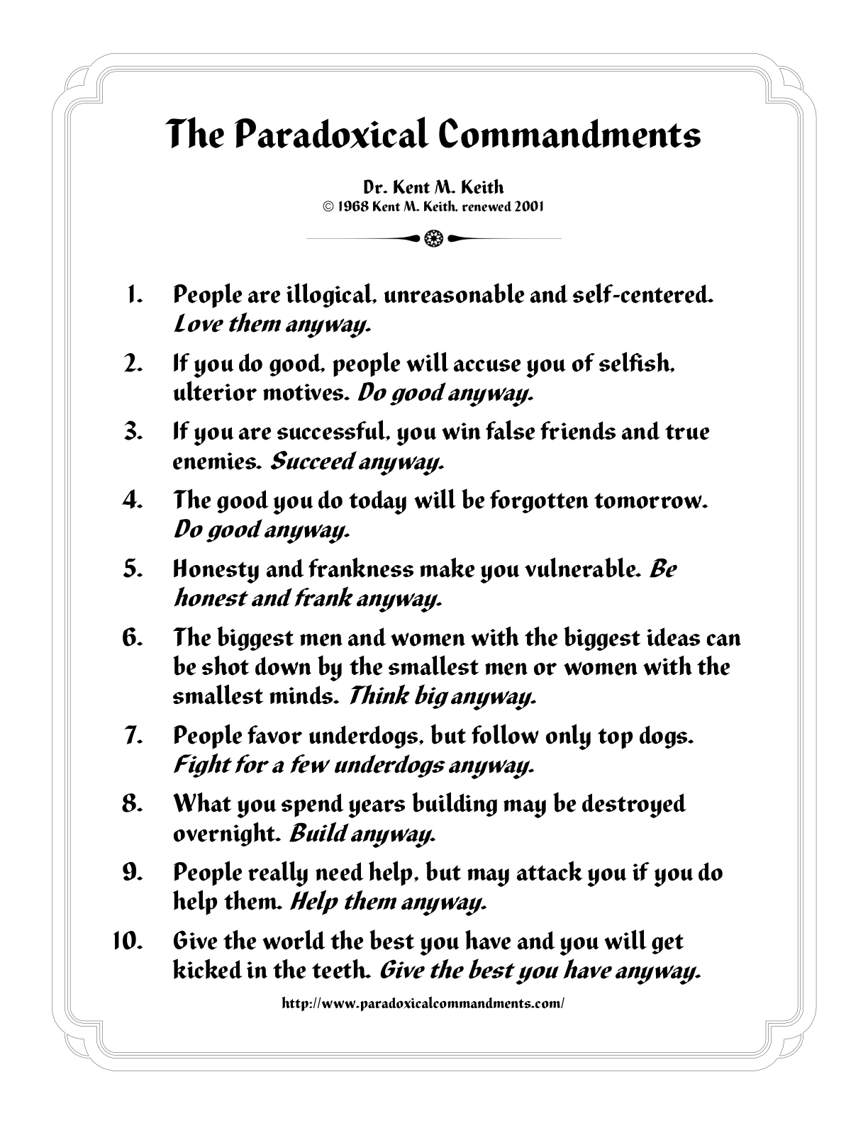 RT - The Paradoxical Commandments