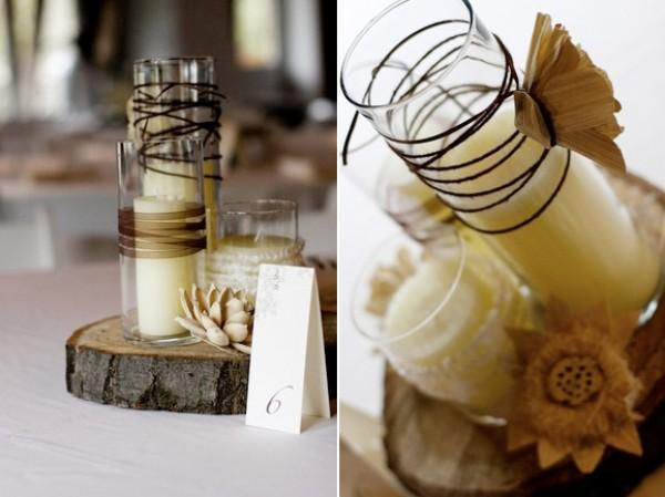 Modernized rustic centerpiece a perfectly posh plan for Wood vases for centerpieces