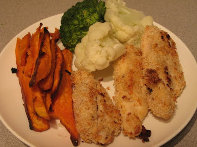 chicken strips with yam fries
