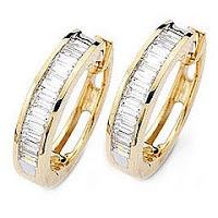 gold diamond hoop earring