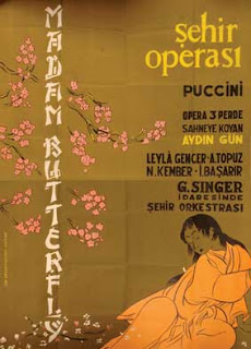 poster, leyla gencer g.singer madame butterfly, city opera