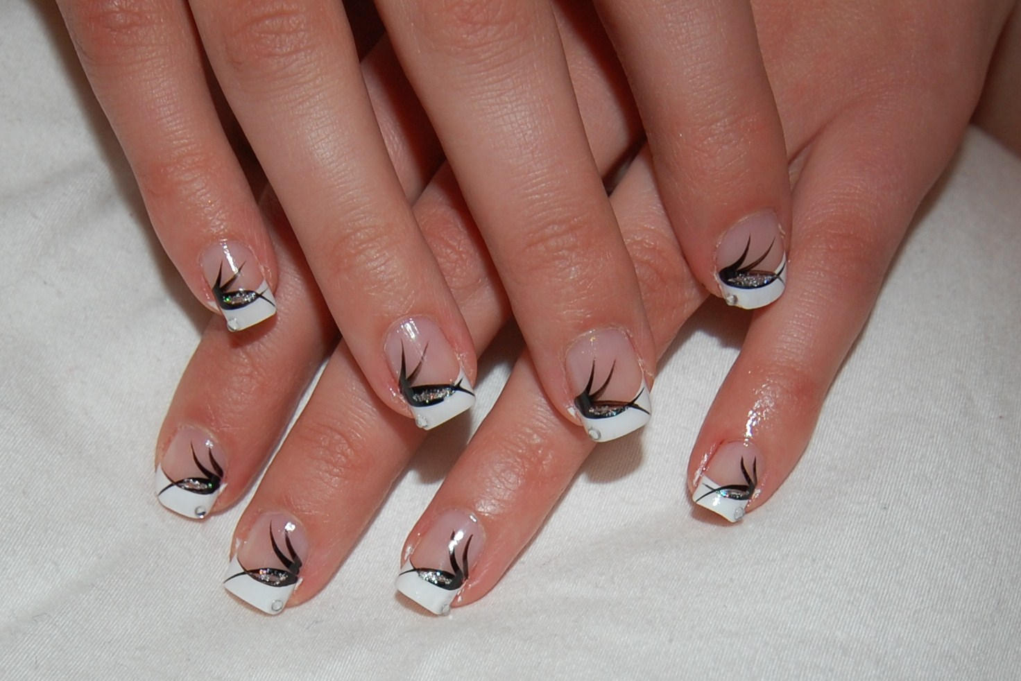 Acrylic nail designs with black tips buy pc false acrylic nail acrylic nail designs with black tips french tips with black nail art and crystal on prinsesfo Choice Image