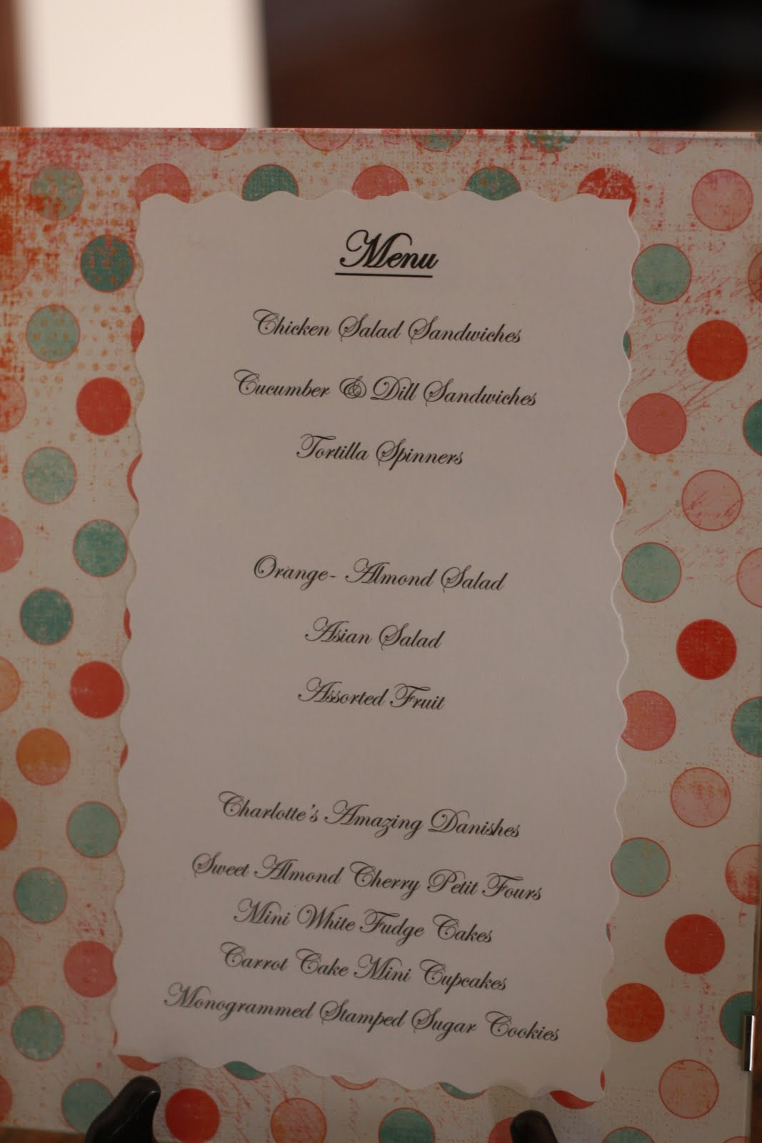 the copy cat cottage tea party baby shower the menu