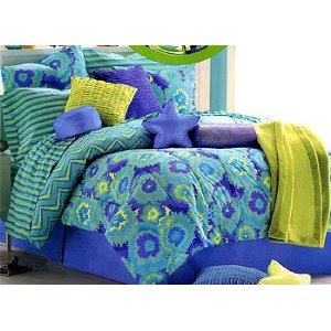 Tie-Dye Green Bedding Set 5pc Twin Teen Bed Set Comforter and Sheets