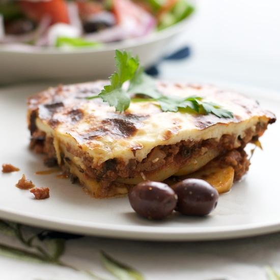 Moussaka with Greek salad