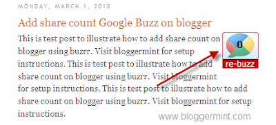 Google buzz share count button for blogger