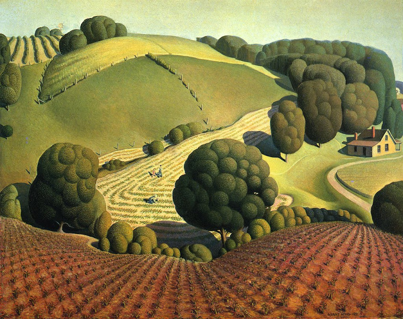 grant wood and his art Grant wood painted idyllic scenes of iowa farm life his regionalist paintings  were comforting to midwesterners, at a time when the country was.