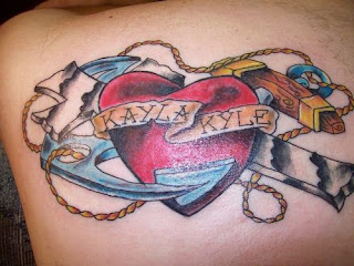 Cross Heart and Anchor tattoo