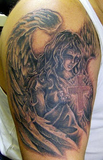 Black Ink Tattoo of Angel with Cross