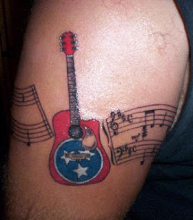 Guitar with Musical Notes Armband Tattoo Design