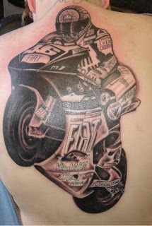 Motorcycle Racing Back Tattoo Picture