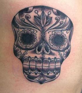 Ancient Death Mask Tattoo Design