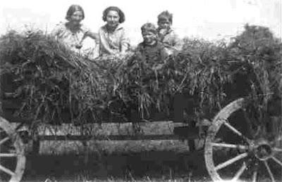 Børn hygger sig i høet 1929