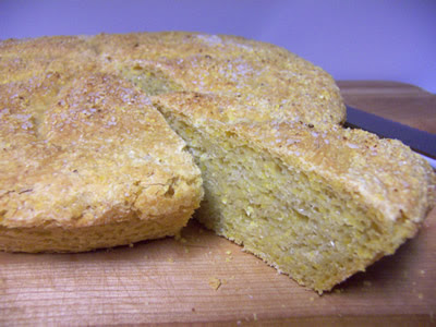 Crusty Yeasted Cornbread with Coarse Salt