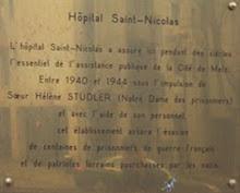 Plaque posée en juin 2006 par l'association des Hospices civils « Mémoire et Patrimoine » de Metz