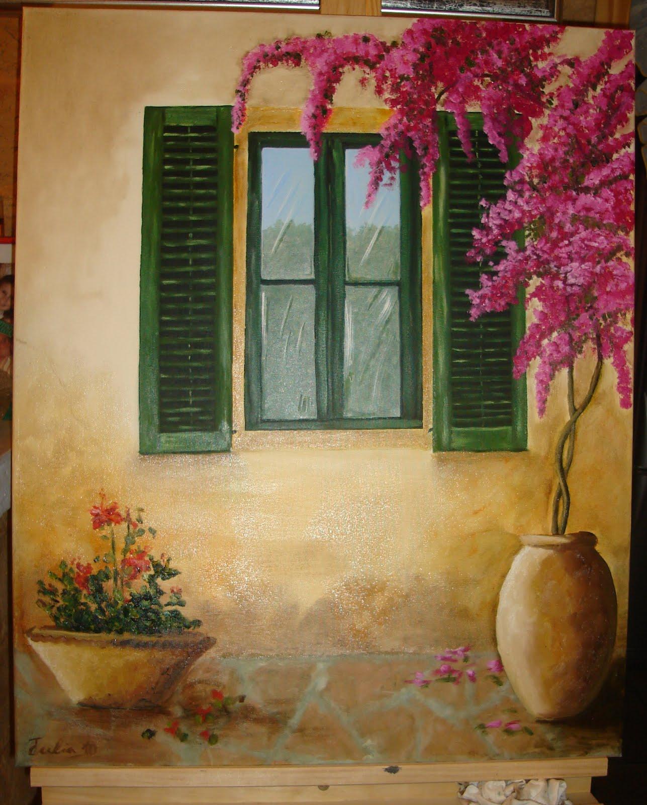 Las manualidades de julia cuadro al oleo ventana al - Cuadros para pintar en casa ...