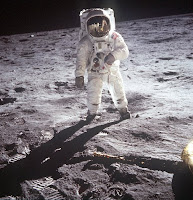 Buzz Aldrin photographed by Neil Armstrong on the Moon during the first Moon landing, Apollo 11