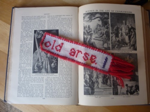 Knit Stitch Bookmark : Knit for Victory: Rude cross stitch bookmark